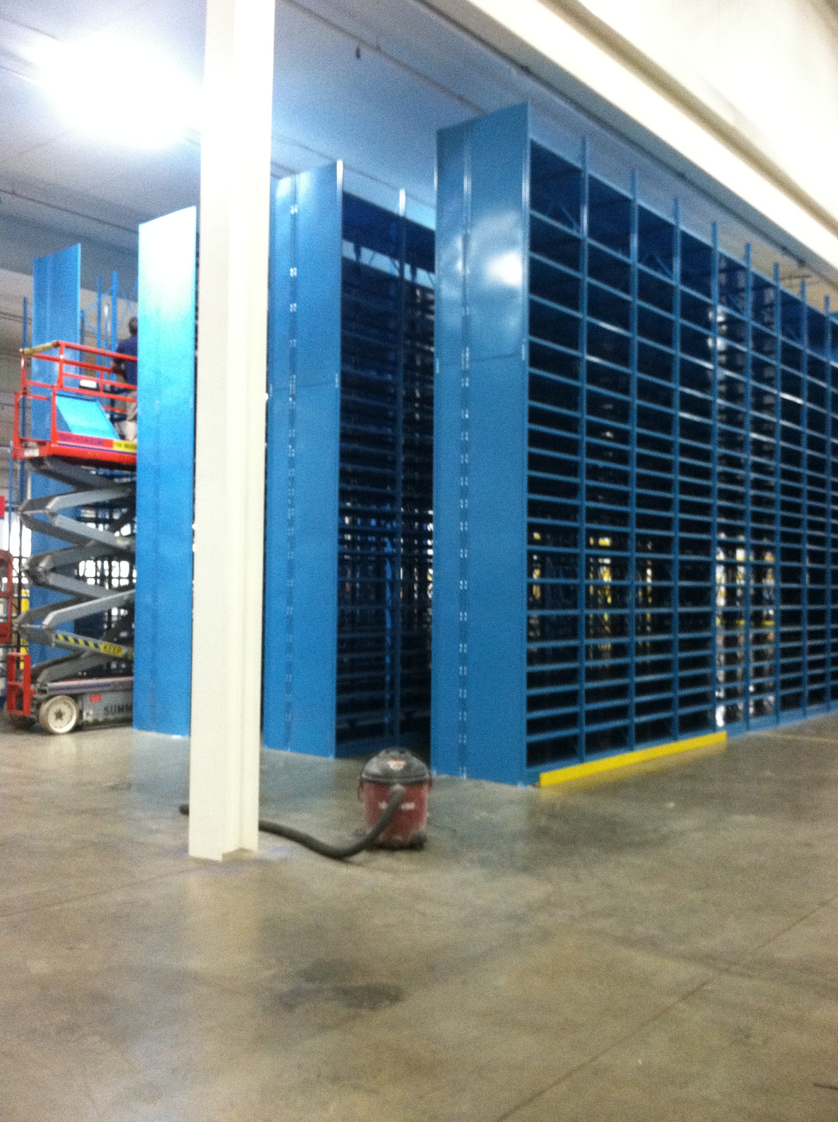 High Rise Warehouse Shelving during installation by Industrial Equipment Erectors
